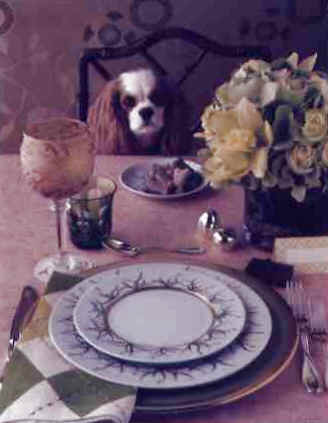 Cavalier sitting at table